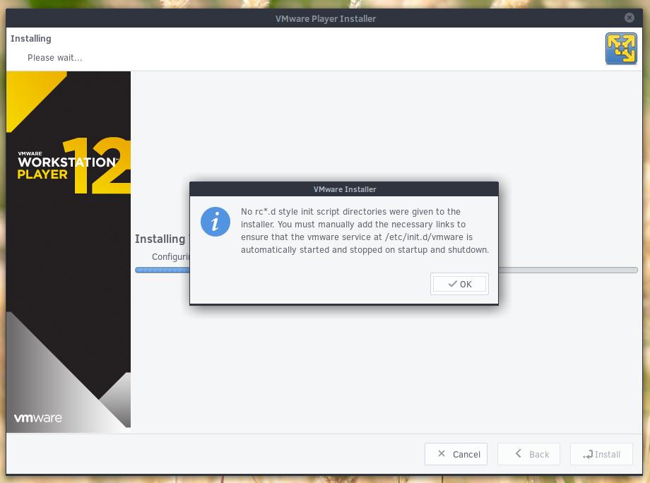 ⚓ T3597 VMWare player installer never completes